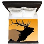 Sunset Bugling Elk King Duvet