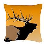 Sunset Bugling Elk Woven Throw Pillow