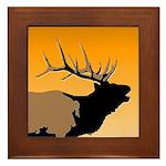 Sunset Bugling Elk Framed Tile