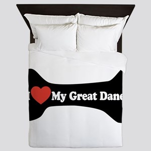 I Love My Great Dane - Dog Bone Queen Duvet