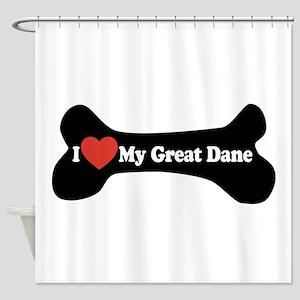 I Love My Great Dane - Dog Bone Shower Curtain