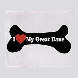 I Love My Great Dane - Dog Bone Throw Blanket