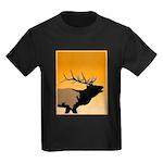 Sunset Bugling Elk Kids Dark T-Shirt