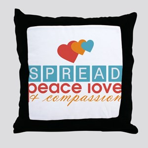 Spread Peace Love and Compassion Throw Pillow