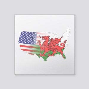 "American Welsh Map Square Sticker 3"" x 3&quot"