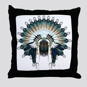 Native War Bonnet 02 Throw Pillow