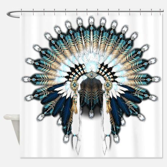 Native War Bonnet 02 Shower Curtain