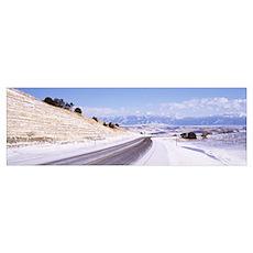 Montana, Bozeman, road, winter Poster