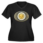 Indian gold oval 3 Women's Plus Size V-Neck Dark T