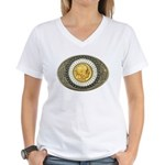 Indian gold oval 3 Women's V-Neck T-Shirt