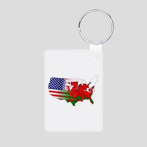 American Welsh Map Aluminum Photo Keychain