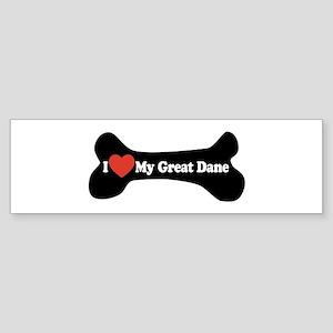 I Love My Great Dane - Dog Bone Sticker (Bumper)