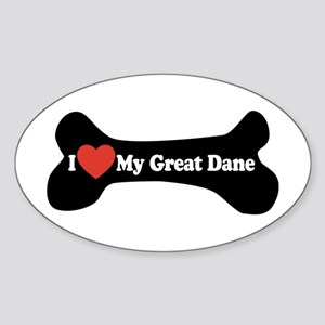 I Love My Great Dane - Dog Bone Sticker (Oval)