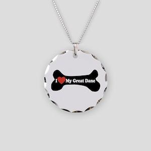 I Love My Great Dane - Dog Bone Necklace Circle Ch