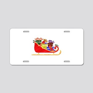 Sleigh With GIfts Aluminum License Plate
