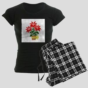 Christmas or Holiday Poinsetta Women's Dark Pajama
