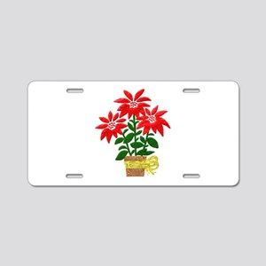 Christmas or Holiday Poinsetta Aluminum License Pl