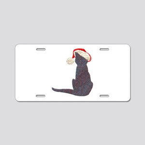 Christmas Cat With Hat Aluminum License Plate