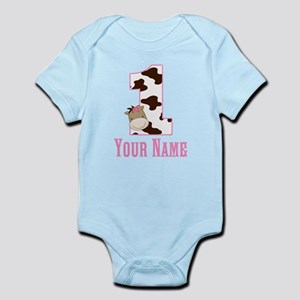 1st Birthday Cow Print and Horse Infant Bodysuit