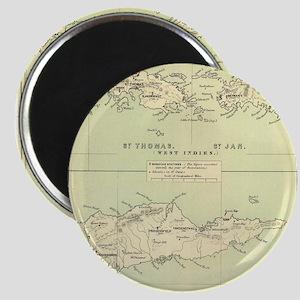Vintage Map of The Virgin Islands (1853) Magnets