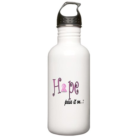 Hope Pass It On Pink Ribbon Stainless Water Bottle