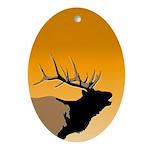Sunset Bugling Elk Oval Ornament