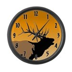 Sunset Bugling Elk Large Wall Clock