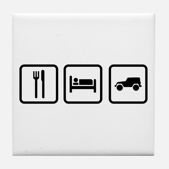 Eat Sleep Jeep Tile Coaster
