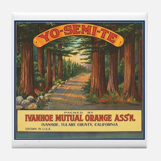 Yosemite Fruit Crate Label Tile Coaster