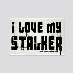 I Love My Stalker Rectangle Magnet