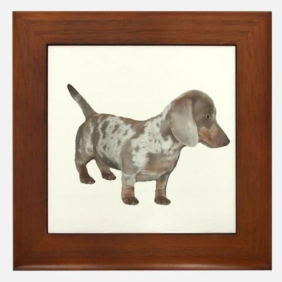 Speckled Dachshund Dog Framed Tile