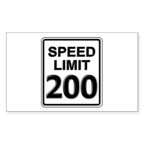 Speed Limit Sign (200 mph) Rectangle Sticker