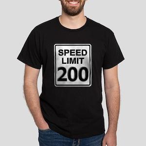 Speed Limit Sign (200 mph) Black T-Shirt