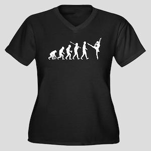 Ballet Dancer Women's Plus Size V-Neck Dark T-Shir