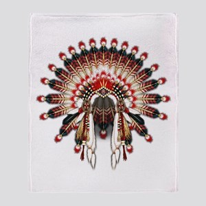 Native War Bonnet 03 Throw Blanket