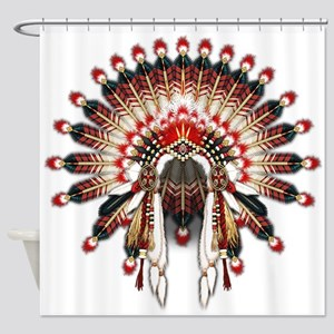 Native War Bonnet 03 Shower Curtain