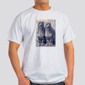 Twin Snow Leopard Cubs Ash Grey T-Shirt