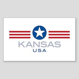 Kansas-Star Stripes: Rectangle Sticker