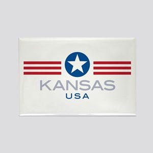 Kansas-Star Stripes: Rectangle Magnet
