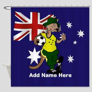 Personalized Australia Soccer Kangaroo Shower Curt