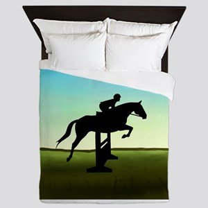 Hunter Jumper Grassy Field Queen Duvet