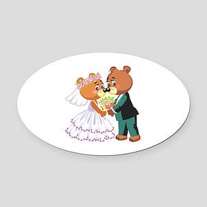 Wedding Bears Oval Car Magnet