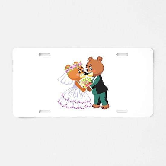 Wedding Bears Aluminum License Plate