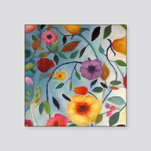 "GARDEN FLOWERS Square Sticker 3"" x 3"""