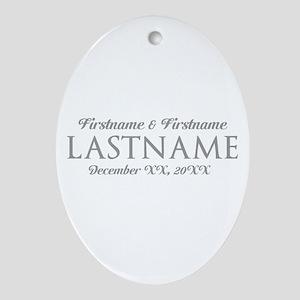 Wedding Favor Bride Groom GRAY Ornament (Oval)