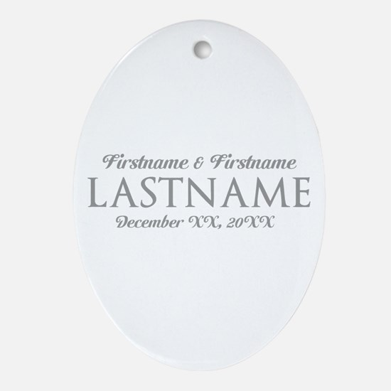 Wedding Favor Bride Groom GRAY Ornament (Oval)