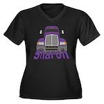 Trucker Sharon Women's Plus Size V-Neck Dark T-Shi
