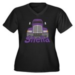 Trucker Sheila Women's Plus Size V-Neck Dark T-Shi