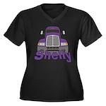 Trucker Shelly Women's Plus Size V-Neck Dark T-Shi