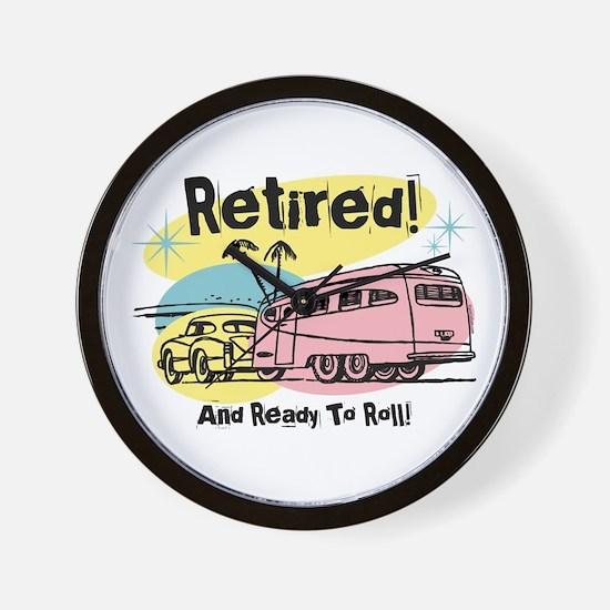 Retro Trailer Retired Wall Clock